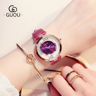 GUOU Luxury Brand Ladies Fashion Quartz Watch Kvinnor Rhinestone Leather Casual Dress Kvinnor Watch Rose Gold Relogio feminino
