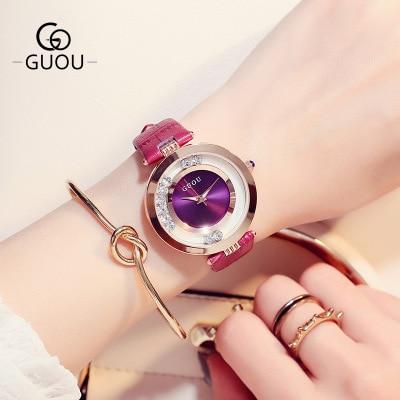 GUOU luxe merk damesmode quartz horloge vrouwen strass lederen casual dameshorloge rose goud relogio feminino
