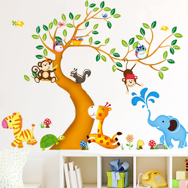 Buy oversize jungle animals tree monkey owl removable wall d - Stickers muraux cdiscount ...