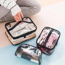 Waterproof Transparent PVC Bath Cosmetic Bag Women Make Up Case Travel Zipper Ma