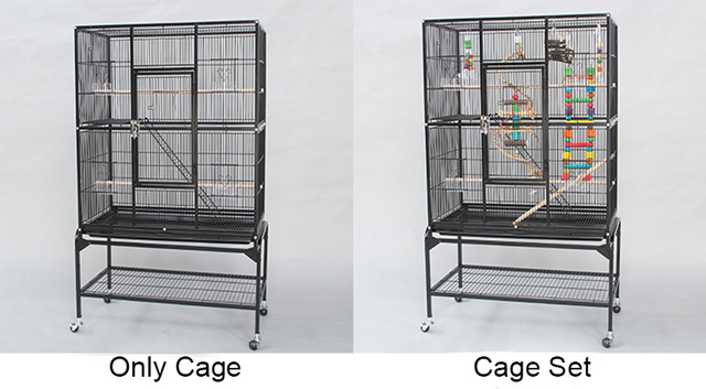 European Style Luxury Iron Metal Flat-top Large Parrot Cage With Stand And Bird Chewing Biting Toys For Gray Parrot Big Bird B09