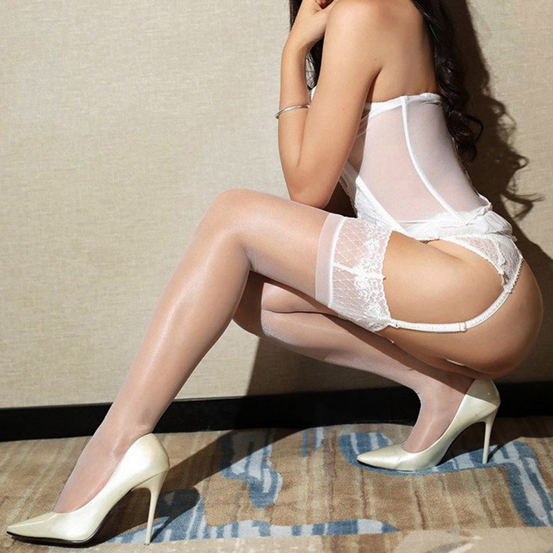 Women Shiny Hold Up Thigh High Stockings Silicone Lace Up Top Stocking Elastic Medias Over Knee Stay Up Stockings Sheer Calze in Stockings from Underwear Sleepwears