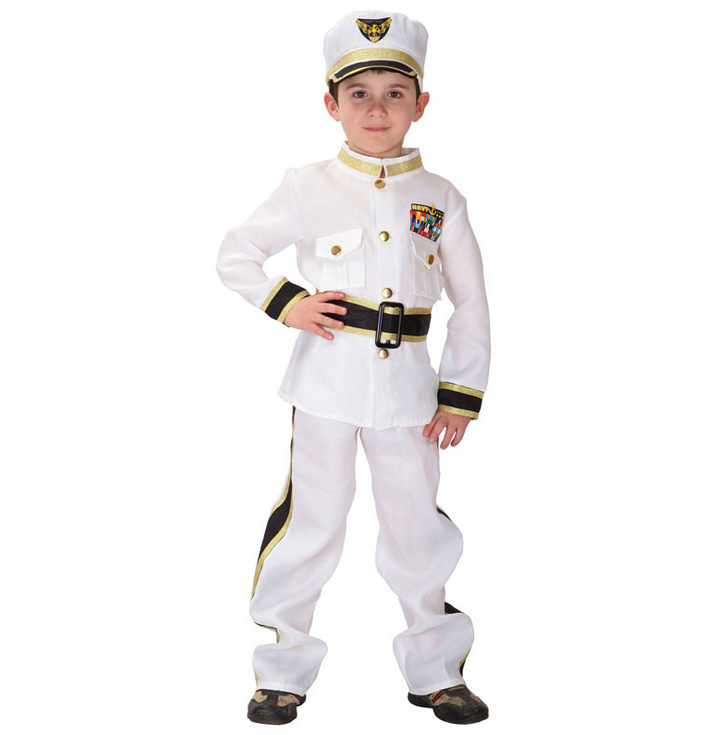 Handsome Boy Policeman Cosplay Costume Soft Spandex Halloween Party Police Costume For Children