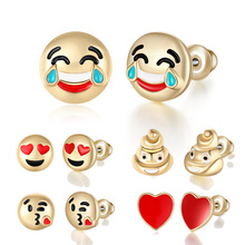 10 Style 10mm Smile/Cry/Heart Emoji Stud Earring for Women Gold Color Fashion Cartoon Smile Face Earrings DIY for Girl's Gift