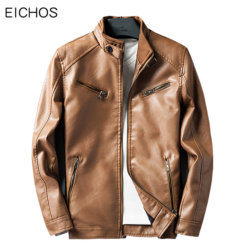 EICHOS 2018 New Slim Jacket Men Leather Motorcycle Bomber Men Fashion PU Leather Jacket Leisure Faux Fur Coats 4 Colors