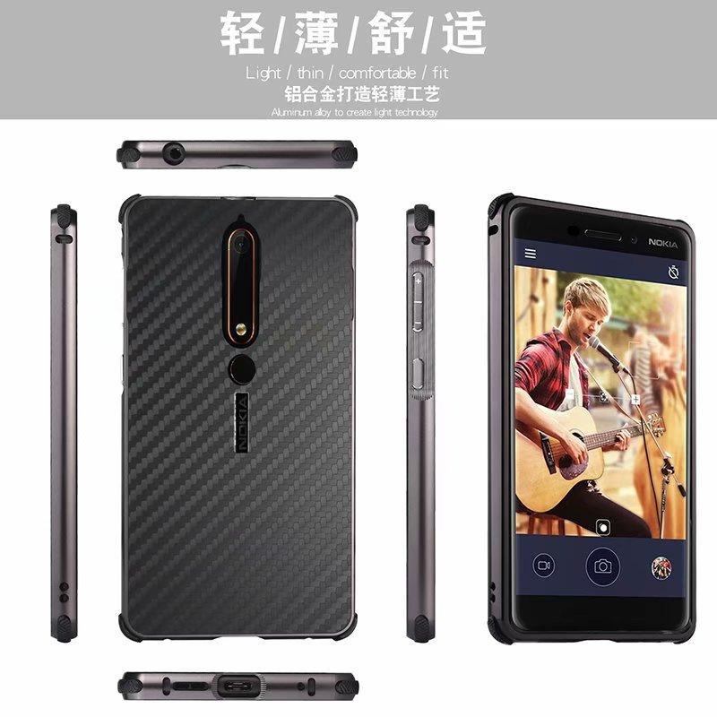 Роскошные углеродного волокна акриловые назад Алюминий металлический каркас чехол для Nokia 6 2018 Мода противоударный 2 в 1 съемная анти против...