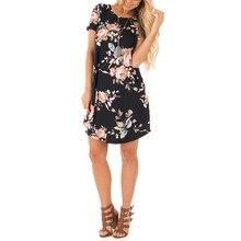 Summer O Neck Women Mini Dress Floral Print Short Sleeve Dresses Party Vestido