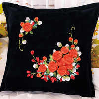 Roses Flowers Ribbon Embroidery Kit Toolkit Cushion Covers Pillow Cover Fashion Home Gifts Unfinished DIY Handmade Needlework