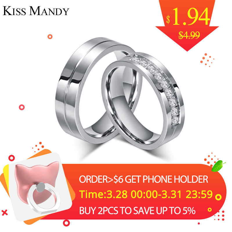 606de21686 KISS MANDY Wedding Stainless Steel Silver Zircon Rings Couple Ring For  Lovers Bridal Engagement Jewelry Valentine