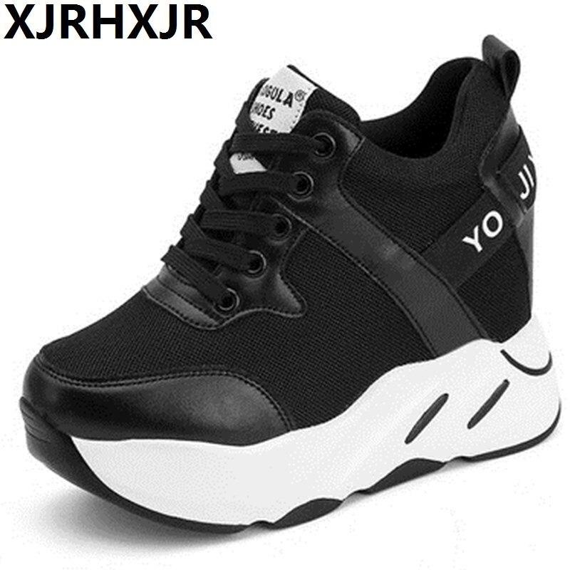 b2dd7ed8438 XJRHXJR Shoes Women 10cm Heels Platform Height Increasing Shoes Wedges High  Hidden Heel Shoes Female Footwears Lady Sneakers