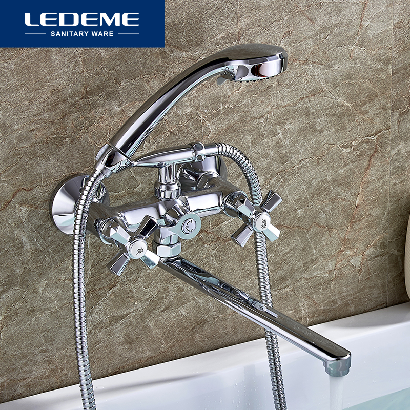 LEDEME Bathroom Bathtub Faucets Bath Shower Head Faucet Long Tube In-Wall Waterfall Mixer Brass Tap Bathtub Faucet L2590