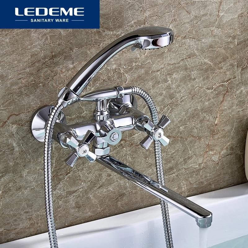 LEDEME Bathroom Bathtub Faucets Bath Shower Head Faucet Long Tube In-Wall Waterfall Mixer Brass Tap Bathtub Faucet L2590