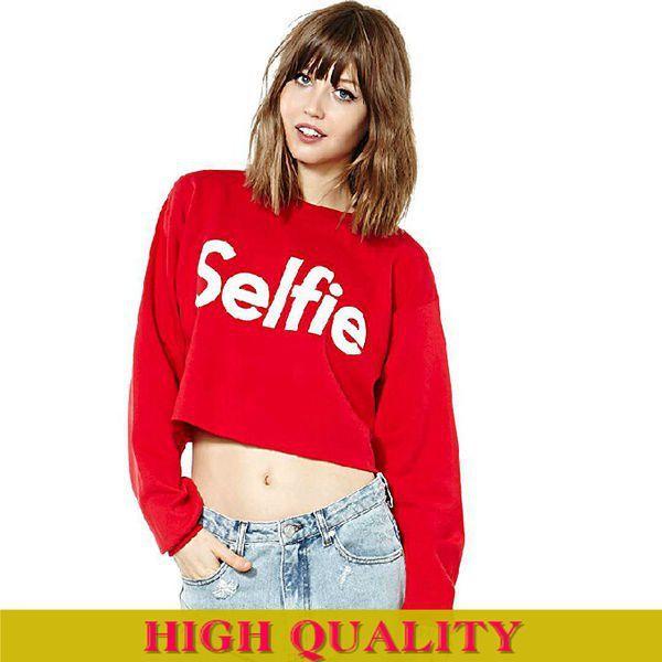 Hot Sale 2015 Autumn Women Sweatshirts Full Sleeve O-Neck Letter Selfie Print Short Women Hoody Sport Red Hoodies Crop Tops