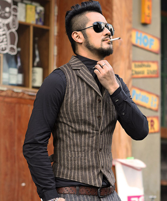 2016 new winter men stripe vest vertical striped wool woolen vest slim metrosexual man suit
