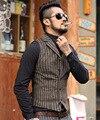 2016 novos homens de inverno listra vertical veste listrada homem metrosexual lã colete de lã fino terno