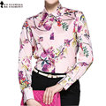 High Quality Laides Single Breasted Shirt Bouse Retro Floral Print Color Pink Trendy Autumn Clothes Women T69912R
