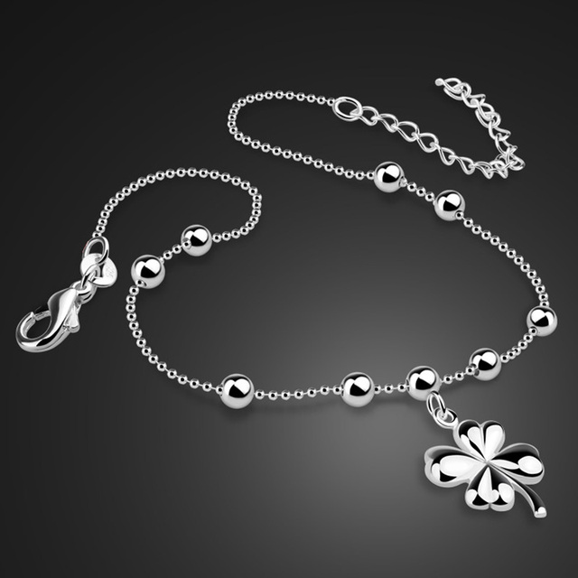 Sterling Silver Bracelet Girl Clover S925 Silver Jewelry Simple