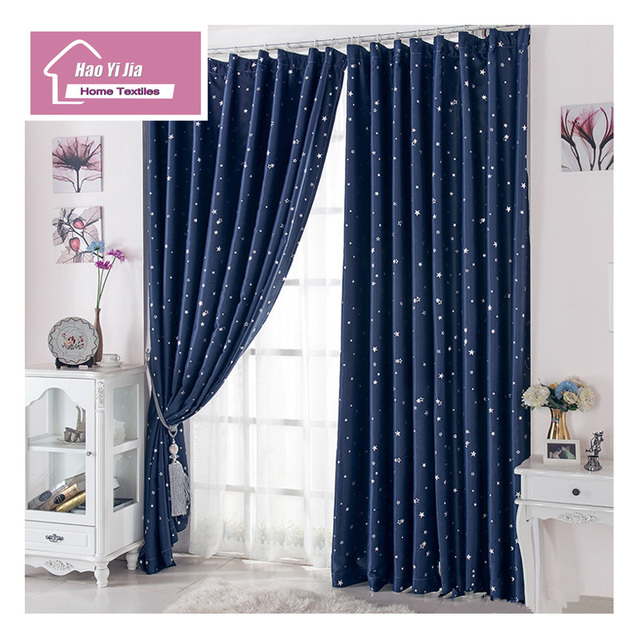 Blue Curtain Shade Five Color Star Design Black Like Hot Cakes 5 Colors