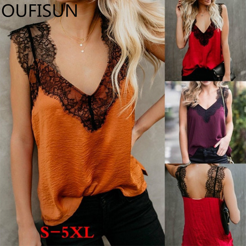 Oufisun Summer Elegant Solid Sleeveless   Shirt   Tops Sexy V-neck Lace Patchwork   Blouses   Women Backless Strap   Blouses   Plus Size 5XL