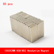 50 PCS 10*5*2mm N38 N52 strong permanent Neodymium Magnet surface paint nickle