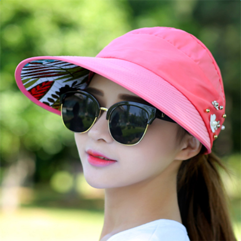 66590596d81 Lacontrie Women Summer Sun Hat sunscreen outdoor sports Baseball cap with no  top Visor HipHop empty top hat Flower -in Sun Hats from Apparel Accessories  on ...