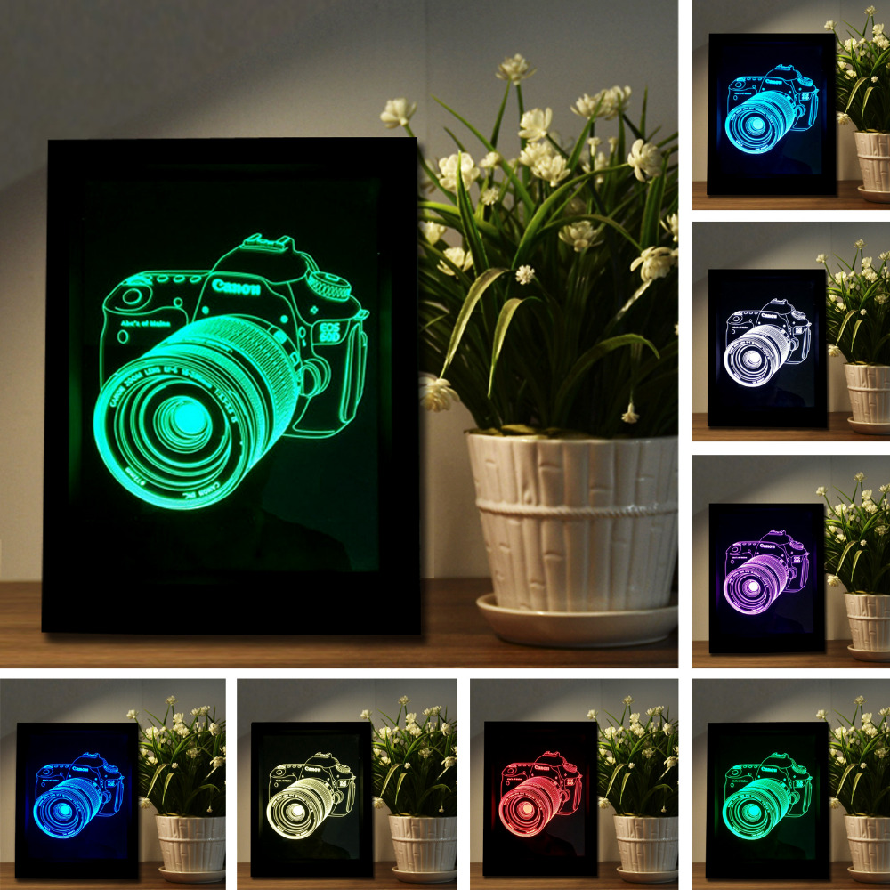 New Creative LED Photo Frame Camera 3D Stereoscopic Remote Control/Touch switch 7 Color Change Vision Lamp Home Decor Xmas Gifts