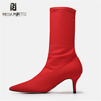 Prova Perfetto Sexy Red Botki dla Kobiet Szpiczasty Nosek Elastyczne wysokie Buty Poślizgu Na Buty Kobiety Pompy Stiletto Szpilki Skarpety