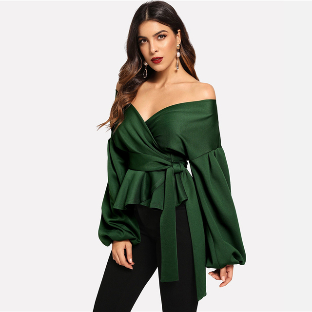 Solid Off Shoulder Lantern Sleeve Surplice Boho Blouse