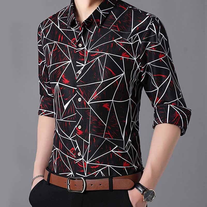 Men Fall Fashion New Men Shirt Cotton Long Sleeve Geometric Printed Shirts Big Size