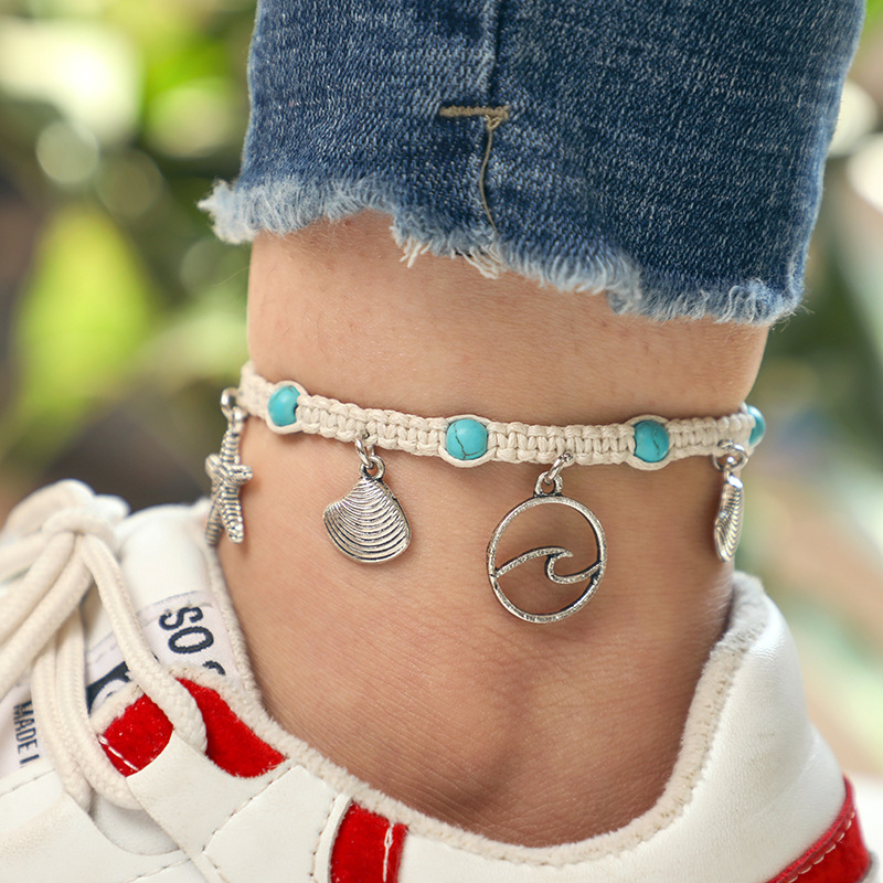 Fashion Bohemia Natural Stone Woven Bracelet Starfish Shell Pendants Anklet For Women Girl Jewelry Accessories Wholesale