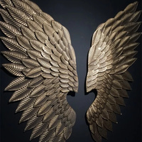 Creative Abstract Wing Wall Sculpture Decoration Figurine Decorative Metal Wing Statue TV Background Xmas Gift