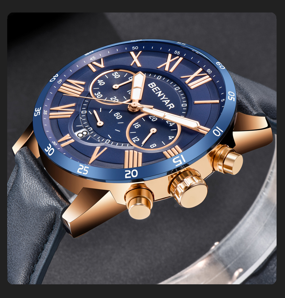 2019 Top Luxury Brand BENYAR Fashion Blue Watches Men Quartz Watch Male Chronograph Leather WristWatch Relogio Masculino