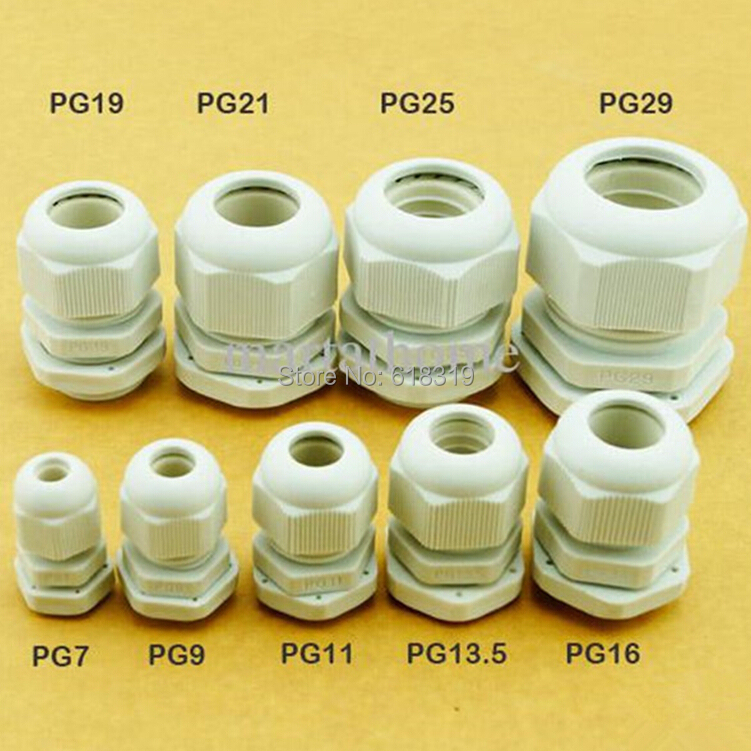 200pcs/lot PG7 Cable Gland IP68 Waterproof Connector Diameter 3-6.5mm Nylon Plastic Wire Glands image
