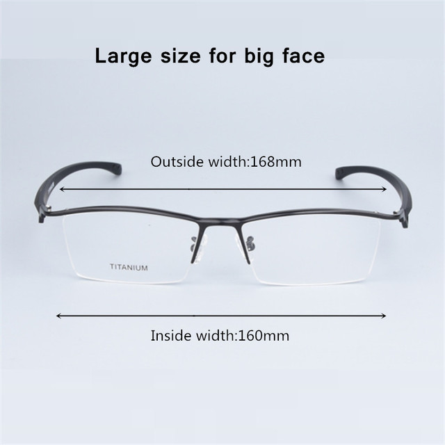 העסקי גדול משקפיים מסגרת גברים משקפי טהור טיטניום אופטי מרשם Oculos גדול גודל משקפיים