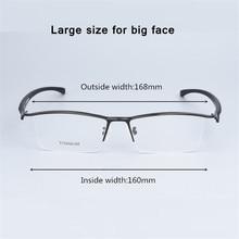 Büyük boy Iş Gözlük Çerçeve Erkekler Gözlük Saf Titanyum Optik Reçete Oculos Büyük Boy Gözlük