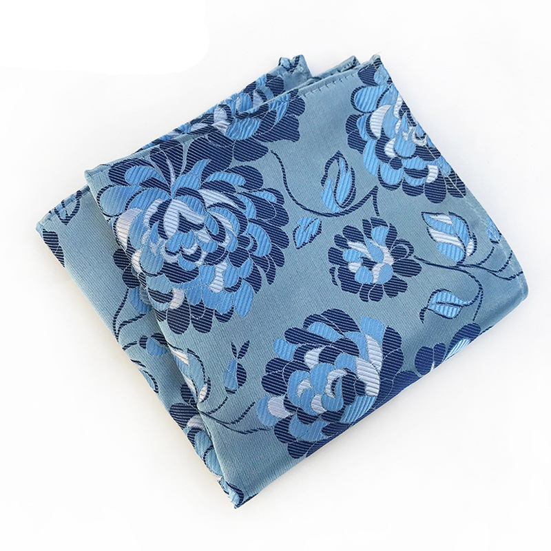 Men's Handkerchief Polka Dot Striped Floral Printed Hankies Polyester Hanky Business Pocket Square Chest Towel 25*25CM