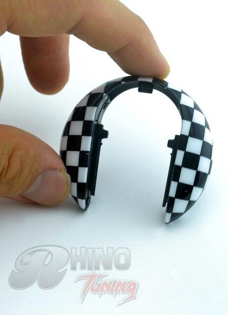 Black and White Checkered Silicone Car Key Hard Case for Mini Cooper F55 F56 Car Key Hardtop Cap 214bw