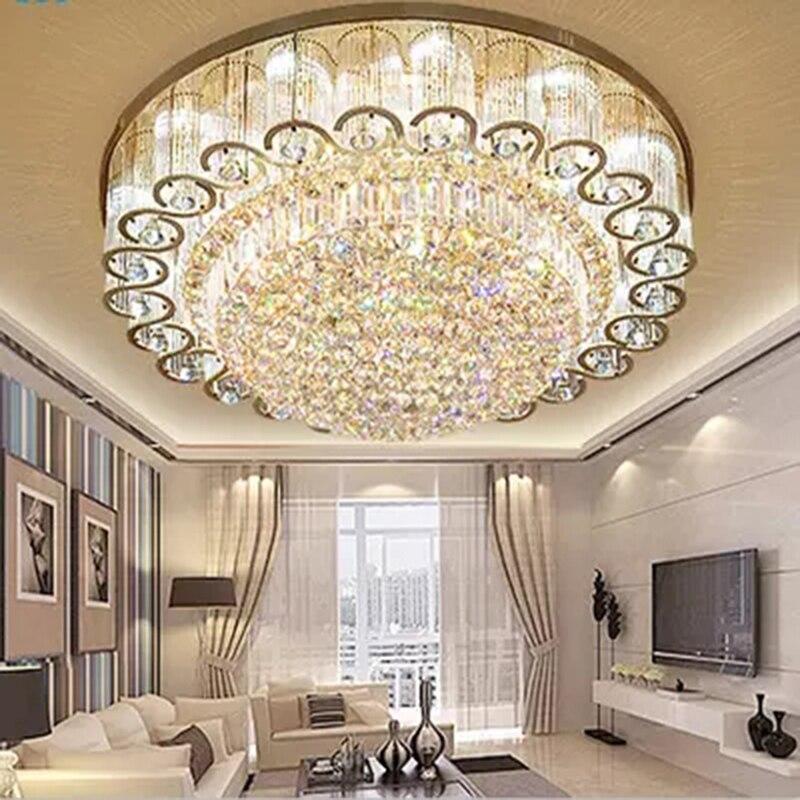 Modern Living room rotonda Luci di Soffitto di cristallo di lusso Europeo lampada a sospensione per la casa di illuminazione Foyer camera da letto Lampada Da Soffitto di cristallo