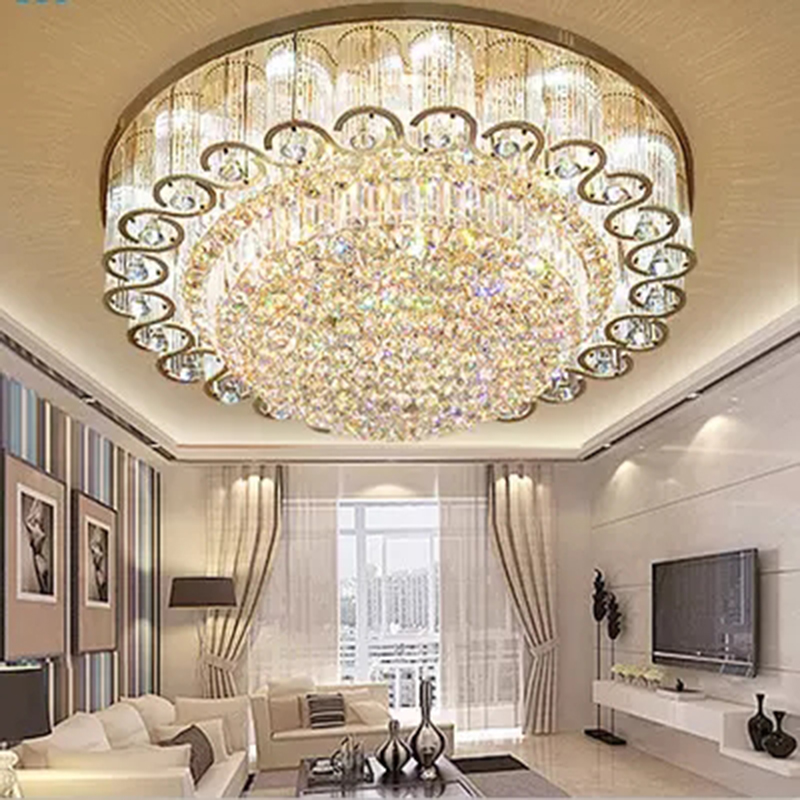 Luxury European Ceiling For Modern Home: Modern Living Room Round Crystal Ceiling Lights European
