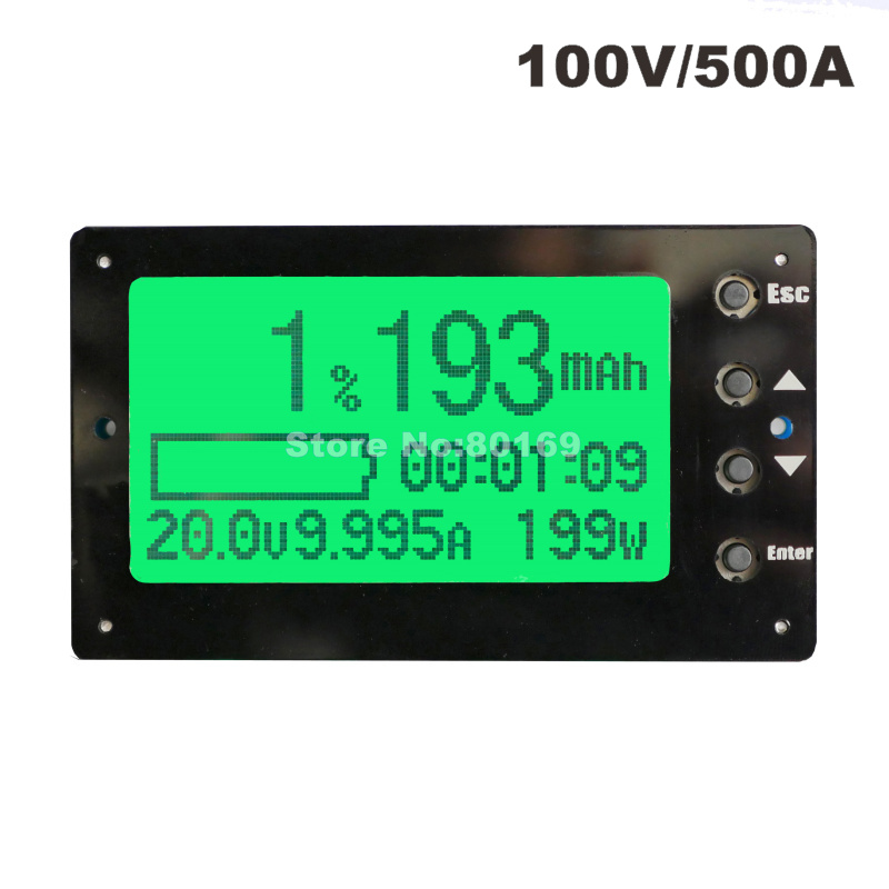 TF03 Large Screen 100V 500A Coulometer Battery Tester Remaining Capacity Coulomb Meter Indicator Display цена