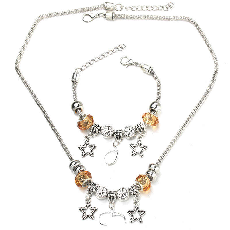 Star Star Necklace Bracelet Set Silver Bead Fine Hollow Chain Beaded Bracelet With Hooks DIY Making Pendant Necklace Jewelry