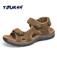 2018 Summer Hot Sale Leisure Beach Men Shoes High Quality Cow Leather Sandals Big Yards Men'S Sandals Size 38-45 Tenis Masculino