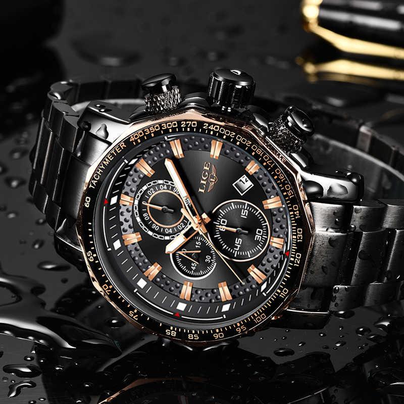 LIGE นาฬิกาผู้ชายผู้ชาย Luxury Chronograph Quartz นาฬิกาผู้ชายกันน้ำกีฬานาฬิกาผู้ชายสแตนเลสชายนาฬิกา + กล่อง