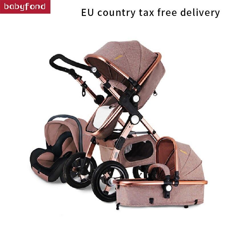 Marque 3 dans 1 bébé poussette armature en alliage d'aluminium pliant poussettes l'europe bébé landau lumière 2 dans 1 parapluie voitures HJBB