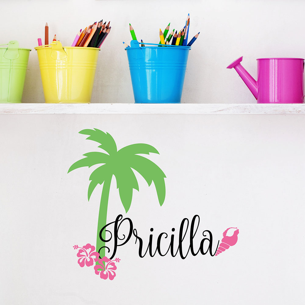 Beach conch wall stickers summer holiday vinyl for kid 39 s for Christmas wall mural plastic
