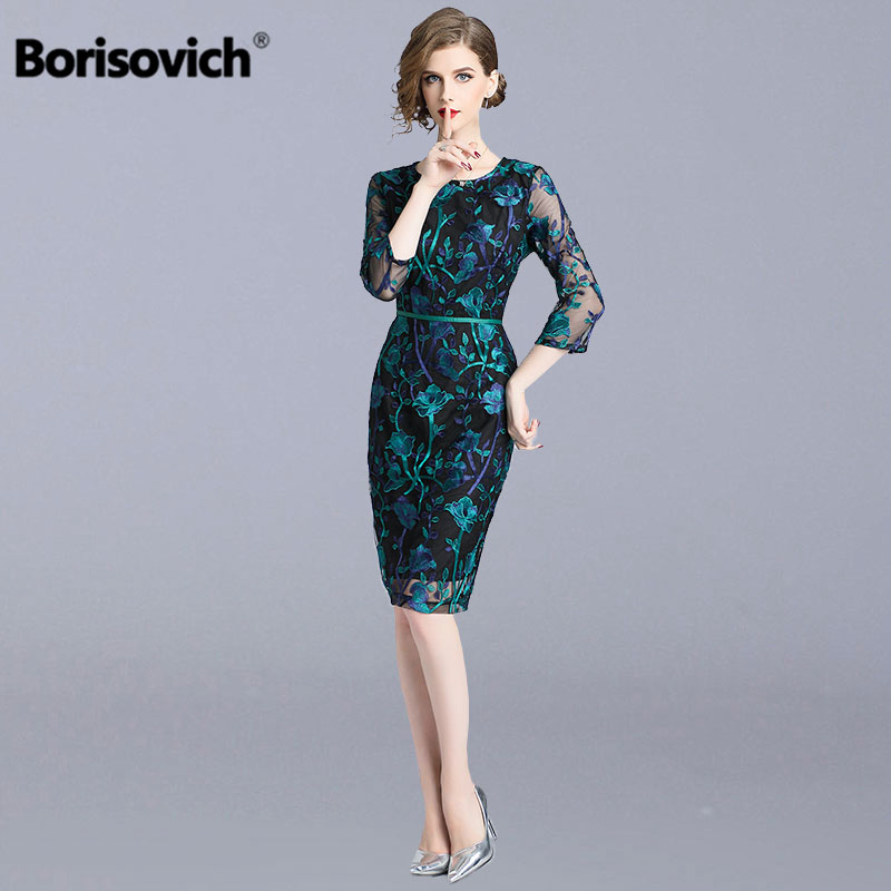 Borisovich Office Lady Pencil Dress New Brand 2018 Autumn Fashion Floral Mesh Embroidery Elegant Slim Women Party Dresses N039