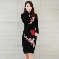 Automne hiver de style chinois top femmes tricoté chaud mince qipao cheongsam cru à manches longues Fleur blouse robe