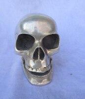 Crânio de prata Tibetana estátua Collectible/Chinês arte Popular Escultura Crânio