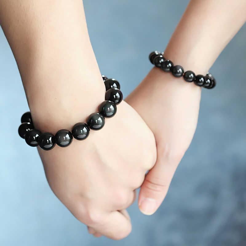 טבעי אבן אובסידיאן קשת עין צמיד לגברים נשים 8-12mm עגול חרוזים למתוח צמידי תכשיטים צמיד Femme