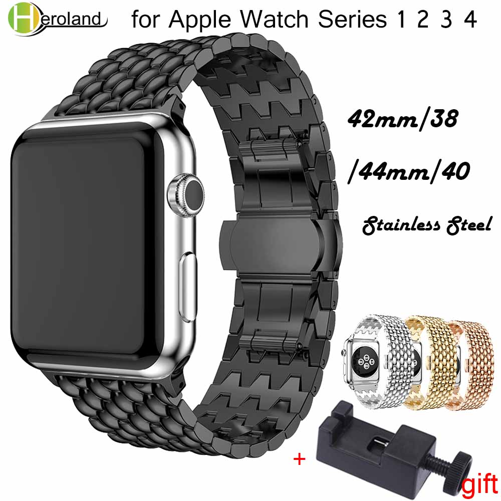 Metal Business Style Watch Band Strap For Apple Watch Band 40mm 44mm 38mm 42mm IWatch Series 1 2 3 4 Stainless Steel Wrist Band